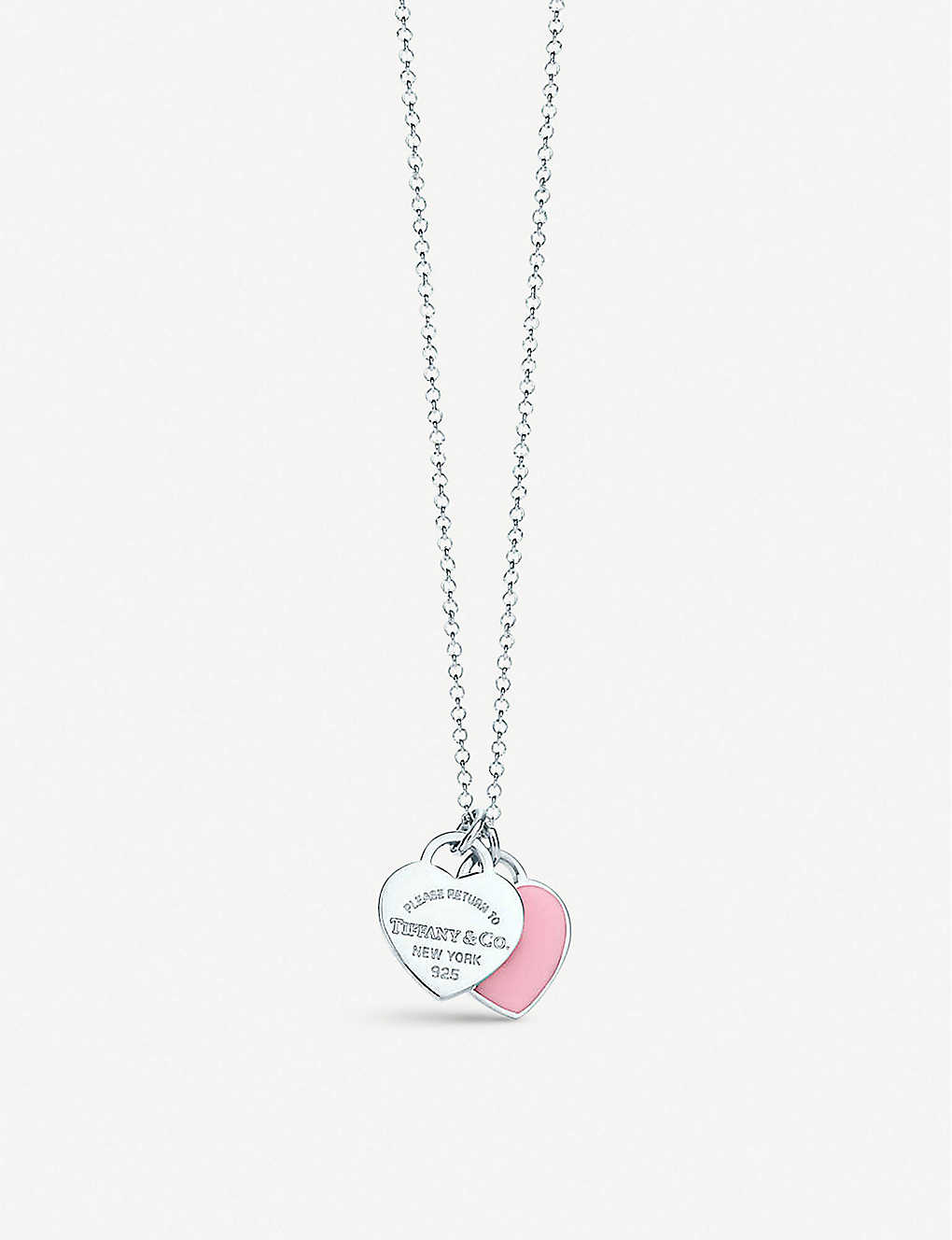 18b9fd399f4f Return to Tiffany mini double heart tag pendant in silver with enamel finish  ...