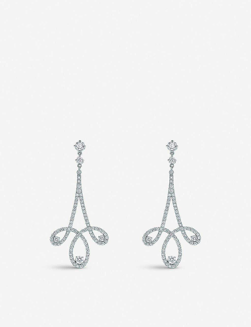 c154989e1 TIFFANY & CO Tiffany Enchant® scroll earrings in platinum with diamonds