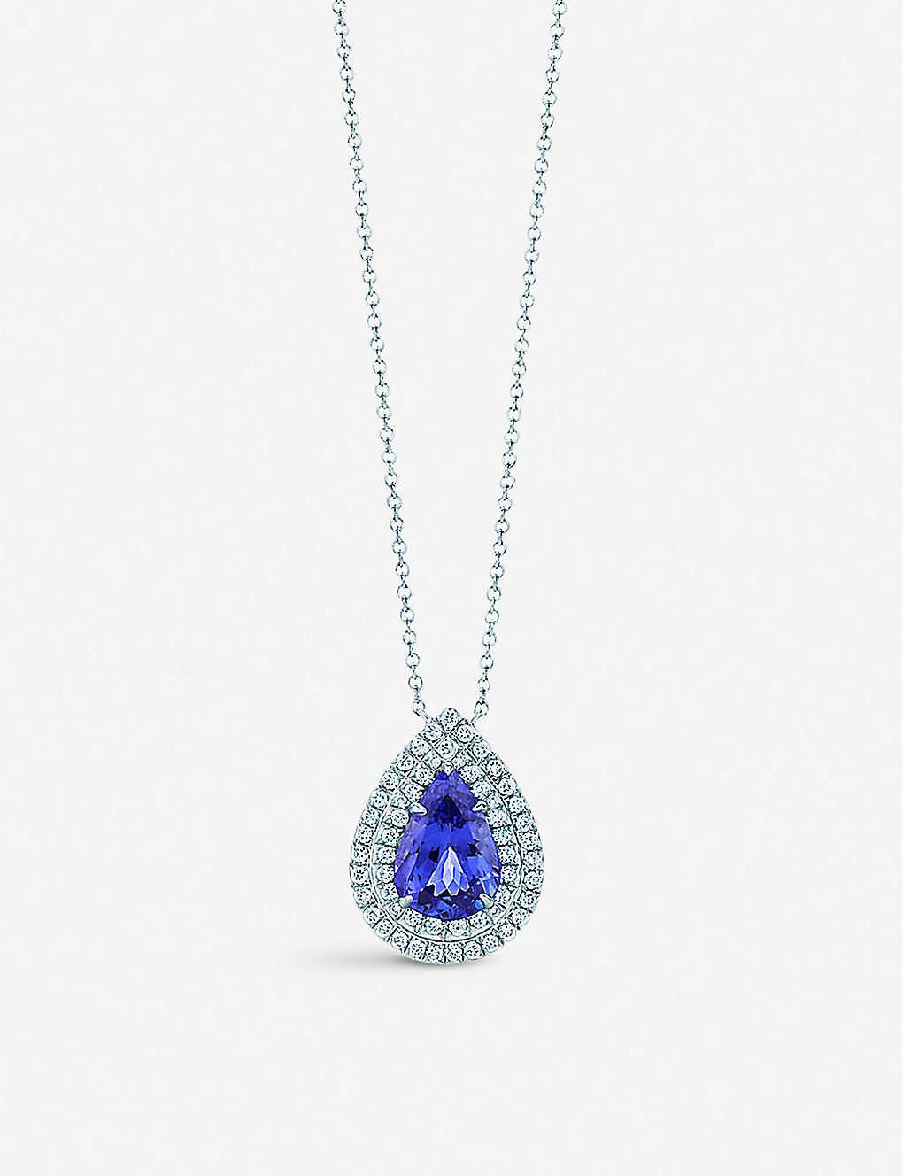 96583491c TIFFANY & CO Tiffany Soleste pendant in platinum with diamonds and a  tanzanite