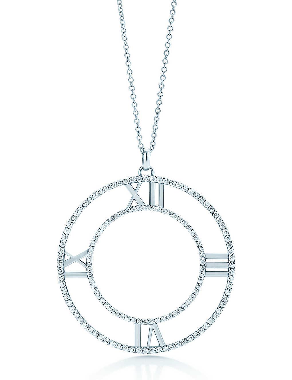 5bb0c6911 TIFFANY & CO - Atlas® open pendant in 18k white gold with diamonds ...