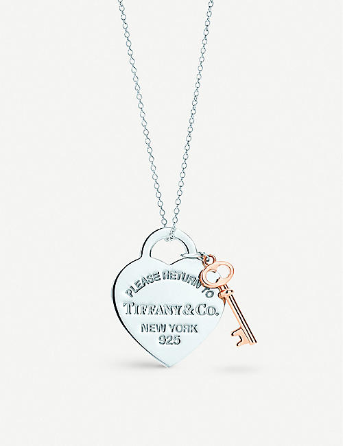 b1da2b7d8796 TIFFANY   CO Return to Tiffany heart key pendant in silver and RUBEDO  metal