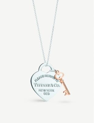 Return To Tiffany Heart Key Pendant In Silver And Rubedo Metal, Medium by Tiffany & Co