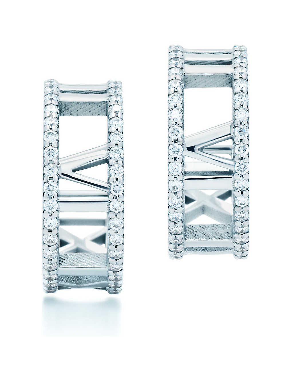 771fa5931 TIFFANY & CO - Atlas® hoop earrings in 18k white gold with diamonds ...