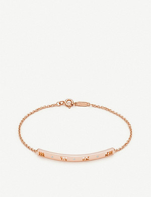 TIFFANY & CO Atlas pierced bar 18ct rose-gold and diamond bracelet