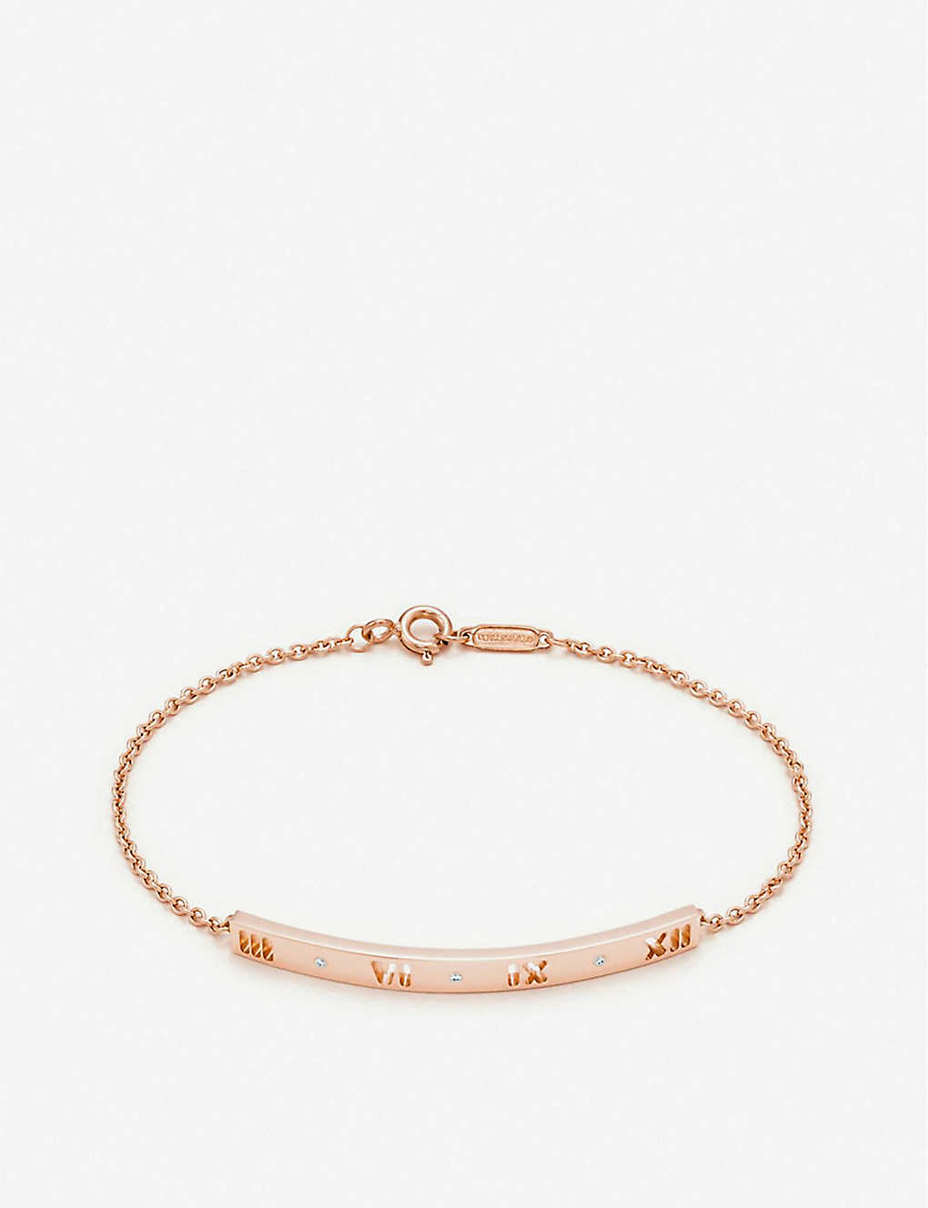 a44cffcef TIFFANY & CO - Atlas pierced bar 18ct rose-gold and diamond bracelet ...