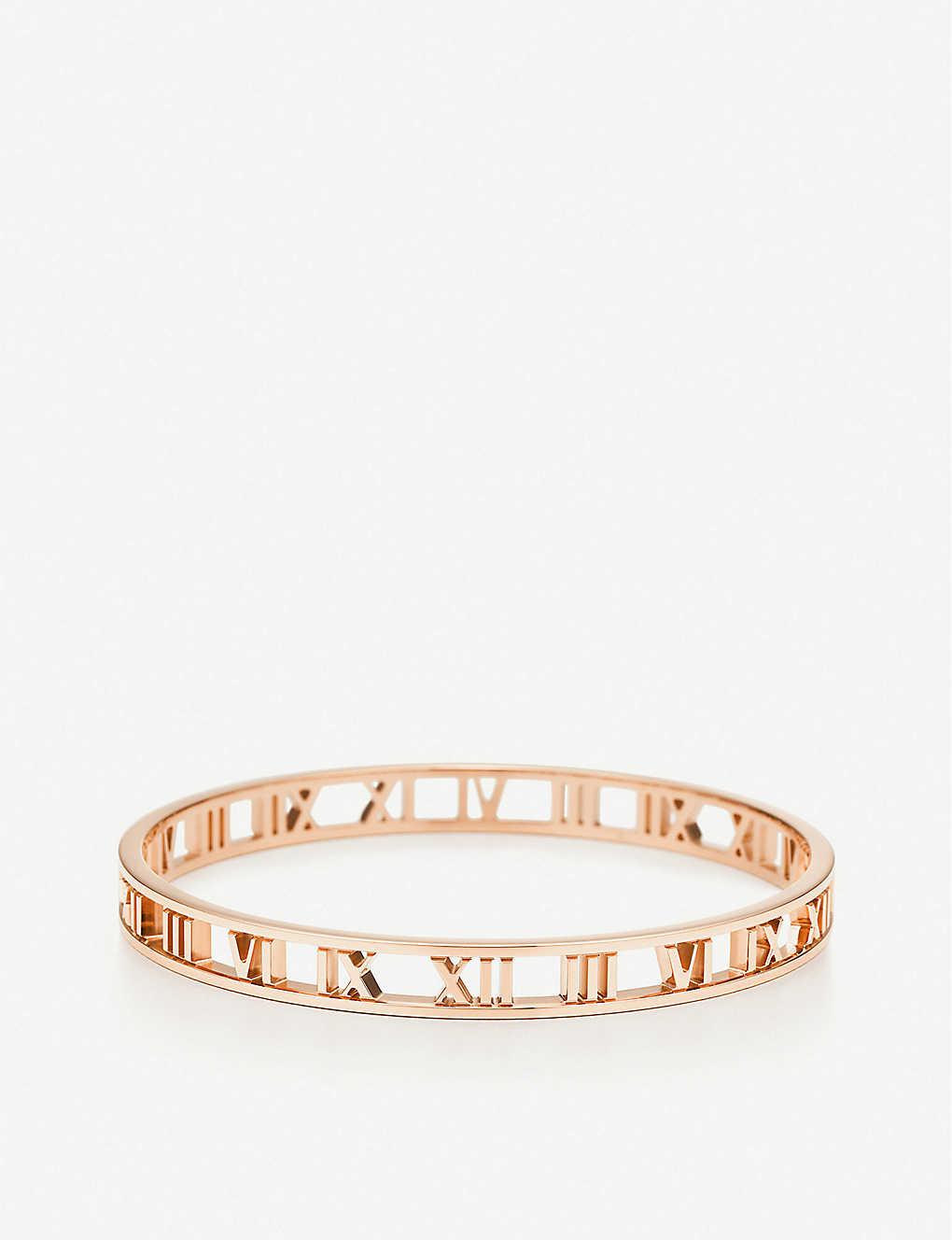 36c16db5b TIFFANY & CO - Atlas Roman numeral 18ct rose-gold narrow bangle ...