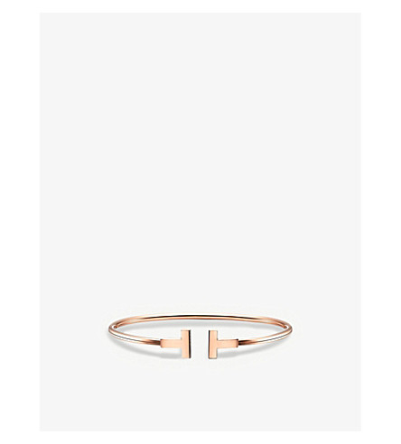 b591bc992217f TIFFANY & CO - Tiffany T wire bracelet in 18k rose gold | Selfridges.com