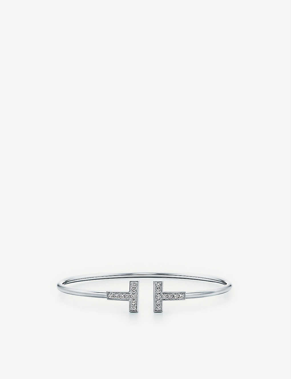 76077cd38 TIFFANY & CO Tiffany T wire bracelet in 18k white gold with diamonds