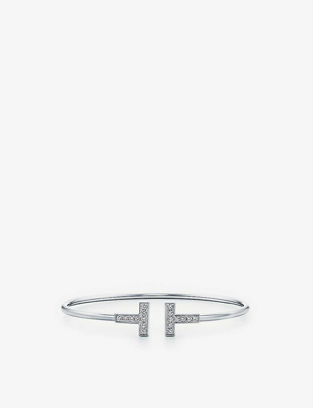 690b0cce5 TIFFANY & CO Tiffany T wire bracelet in 18k white gold with diamonds