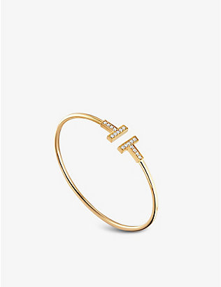 TIFFANY & CO: T Wire diamond and 18ct-gold bracelet