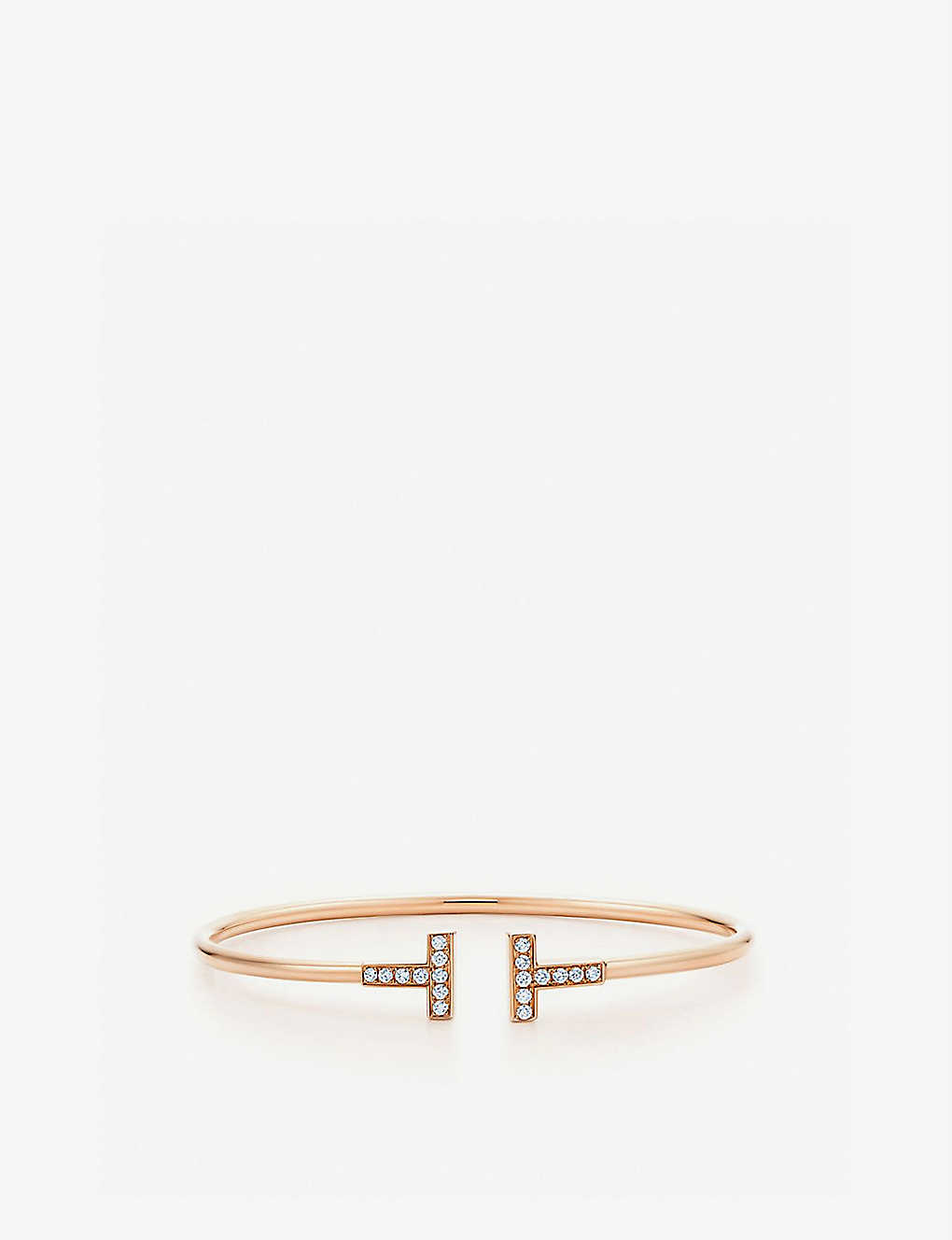0d2ffc10a591f Tiffany T wire bracelet in 18k rose gold with diamonds