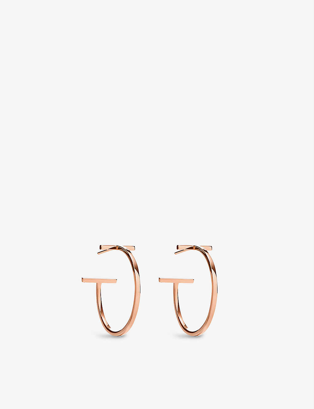 56dbe4677ec2a TIFFANY & CO - Tiffany T 18ct rose-gold wire hoop earrings ...