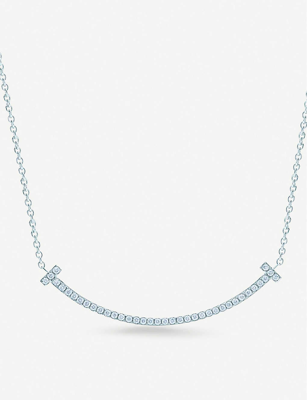 27c61ab30 TIFFANY & CO - Tiffany T Smile 18ct white-gold and diamond necklace ...