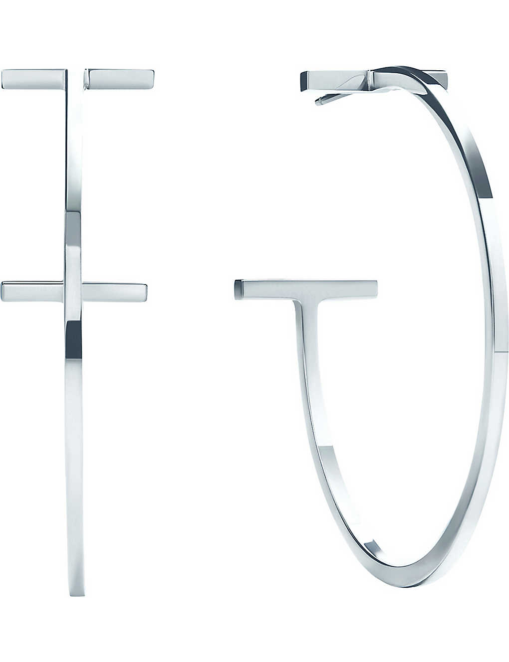 50453cdbd TIFFANY & CO - Tiffany T sterling silver hoop earrings | Selfridges.com
