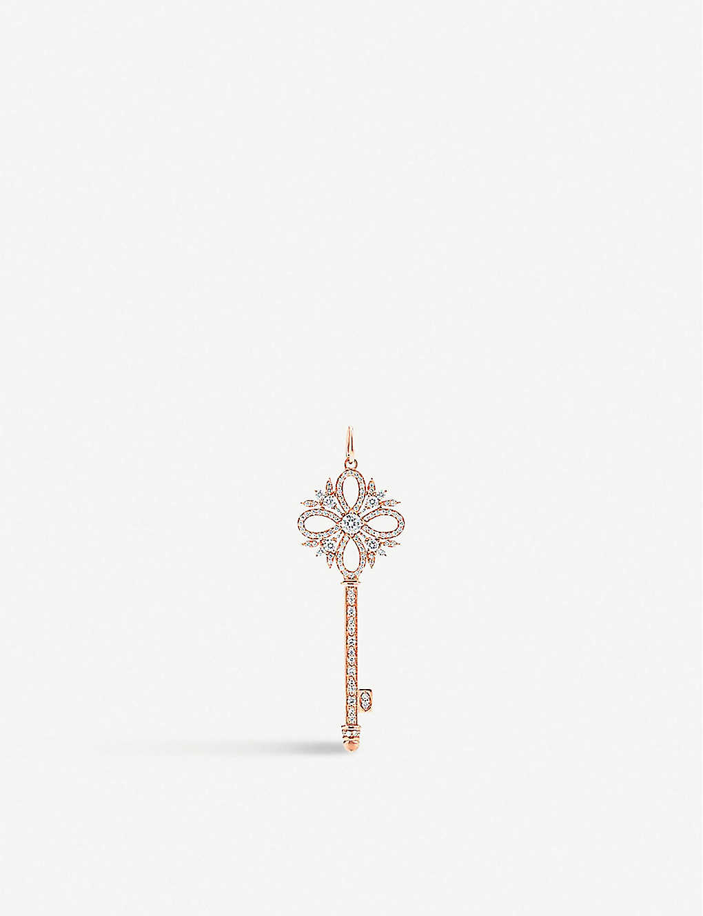 TIFFANY & CO: Victoria Key 18ct rose-gold and diamond pendant