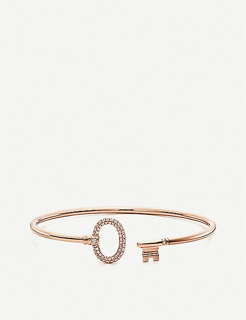 715060f5e TIFFANY & CO Tiffany Keys Wire 18ct rose-gold and pavé diamond bracelet