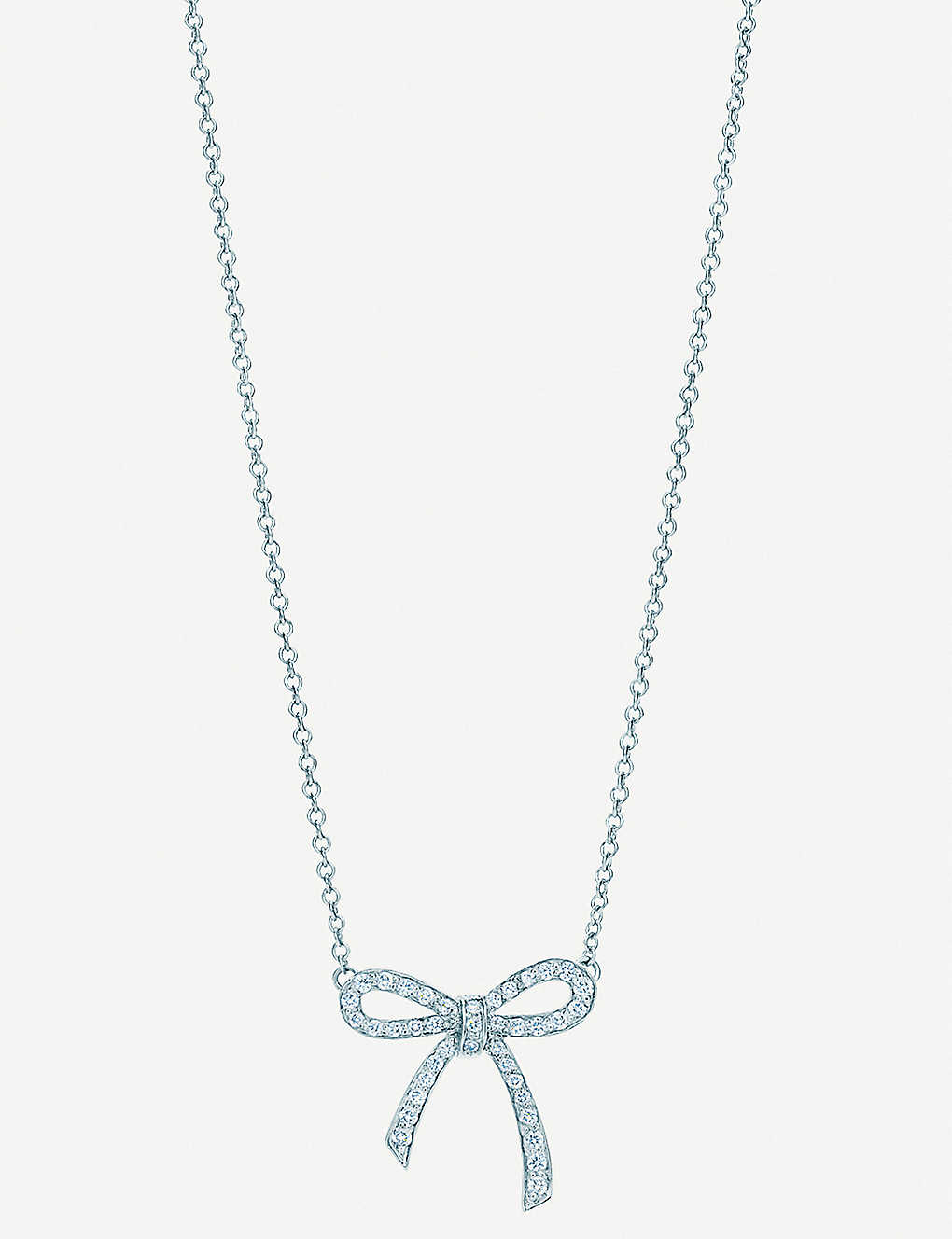1c7329360 TIFFANY & CO - Platinum diamond bow pendant necklace   Selfridges.com