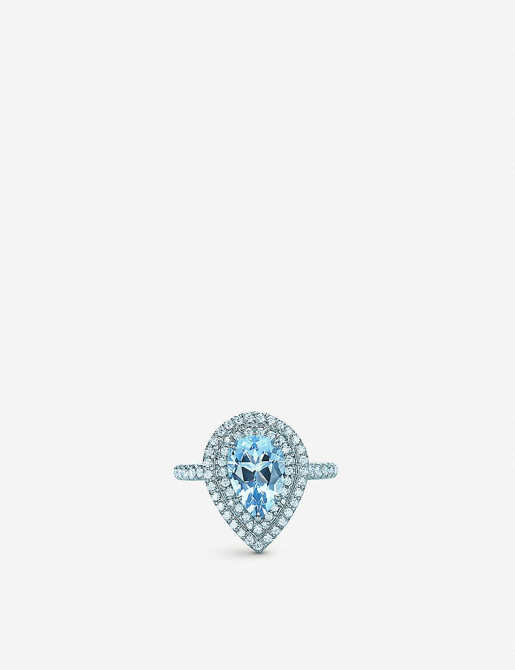 9493e348a TIFFANY & CO - Tiffany Soleste platinum, aquamarine and diamond ring ...