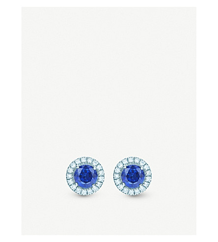 b56e95459 TIFFANY & CO - Soleste platinum, diamond and sapphire earrings ...