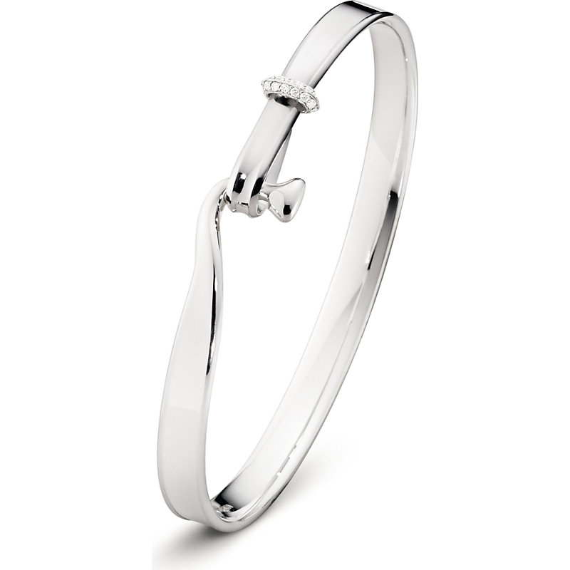 GEORG JENSEN Torun Sterling Silver 18 Kt White Gold And Diamond Bangle