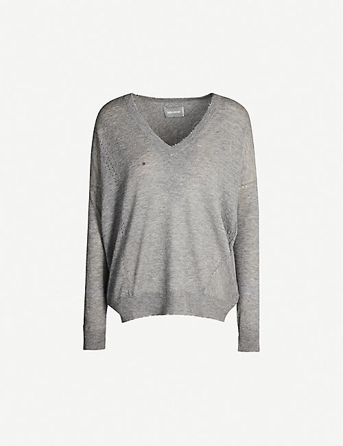 ZADIG&VOLTAIRE: Brume distressed V-neck cashmere jumper