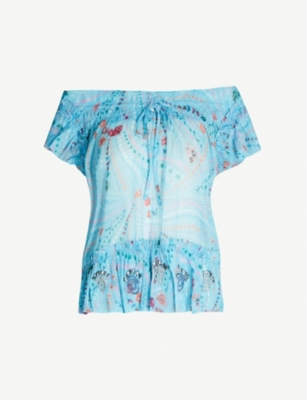 ZADIG&VOLTAIRE Tutti floral-print off-the-shoulder woven top