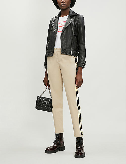 ZADIG&VOLTAIRE Pomelo mid-rise cropped metallic-striped cotton-twill trousers