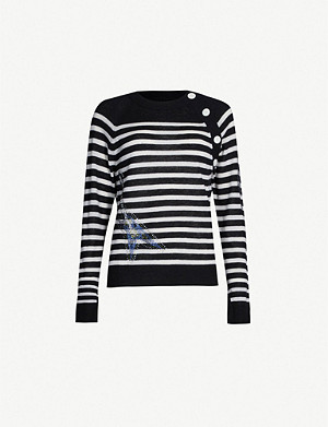 ZADIG&VOLTAIRE Reglis crystal-embellished striped cashmere jumper