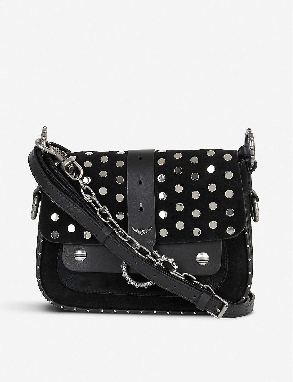 ZADIG&VOLTAIRE: Kate studded suede cross-body bag