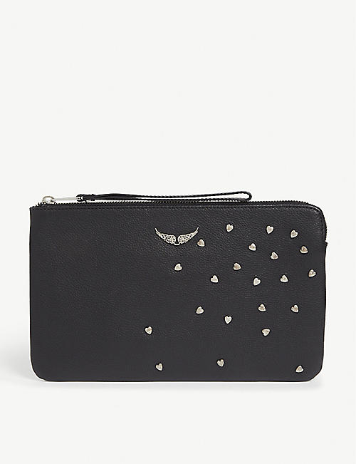 ZADIG&VOLTAIRE Uma heart leather clutch