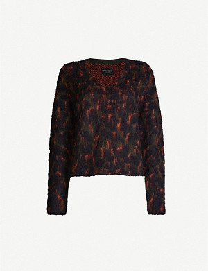 ZADIG&VOLTAIRE River abstract-print V-neck knitted jumper