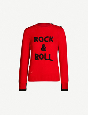 ZADIG&VOLTAIRE Delly 'Rock & Roll' slogan cashmere jumper