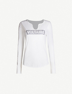 ZADIG&VOLTAIRE Tunisien logo-embellished cotton-jersey top