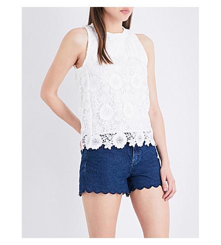 64d659fbe37190 MAJE Lidony lace top (Ecru
