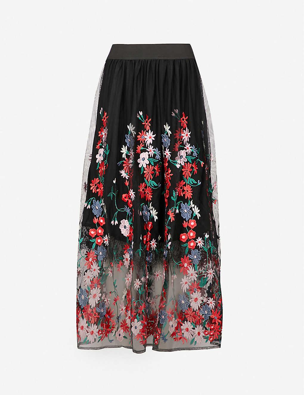 4aff694466 MAJE - Jamie floral-embroidered tulle midi skirt   Selfridges.com