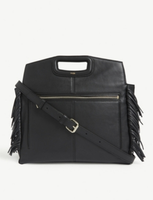 MAJE M fringed leather shoulder bag