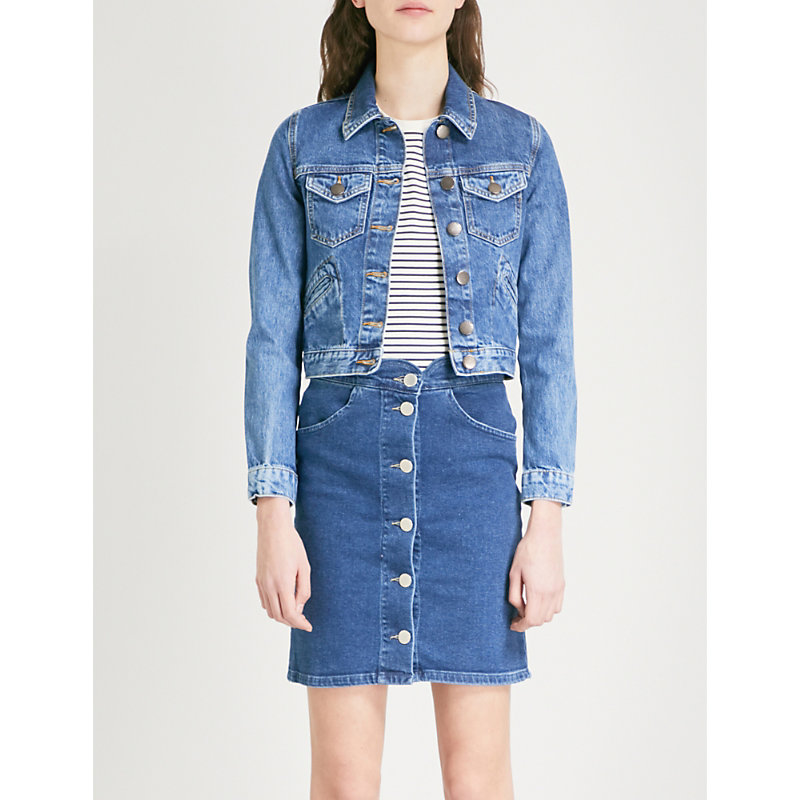 MAJE VIVE CROPPED DENIM JACKET