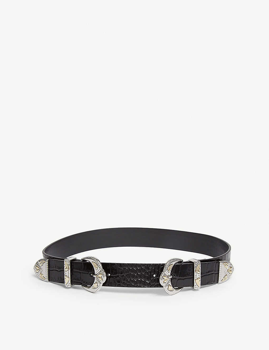 84853af88 MAJE - Double buckle croc-embossed leather belt | Selfridges.com
