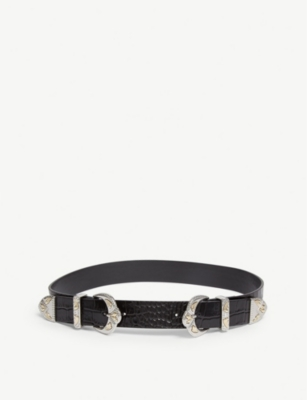 MAJE Double buckle croc-embossed leather belt