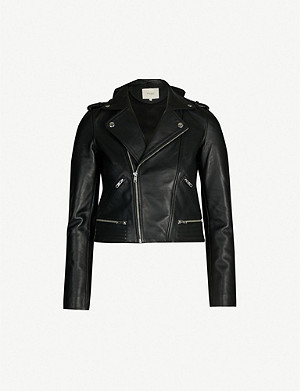 MAJE Basalt buckled leather jacket