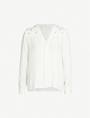MAJE Cil nature-embellished crepe shirt