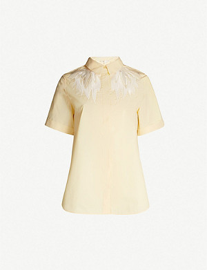 MAJE Feather-embroidered short-sleeved crepe shirt