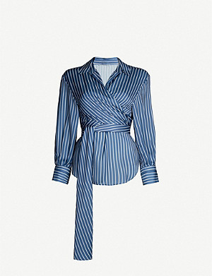 MAJE Cosa striped wrap-front shirt