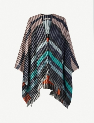 MAJE Houndstooth striped poncho