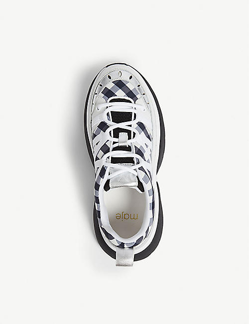 MAJE W20 vichy print leather trainers
