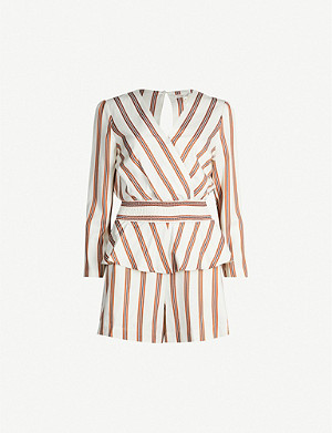 MAJE Striped stretch-twill playsuit