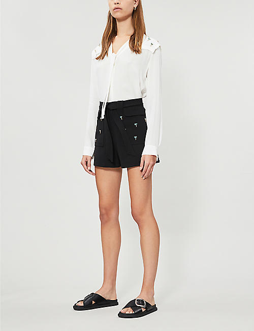MAJE Bermuda nature-embroidered crepe shorts