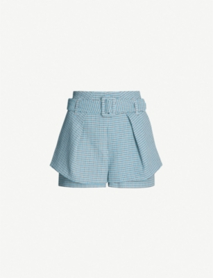 MAJE Layered checked bouclé shorts