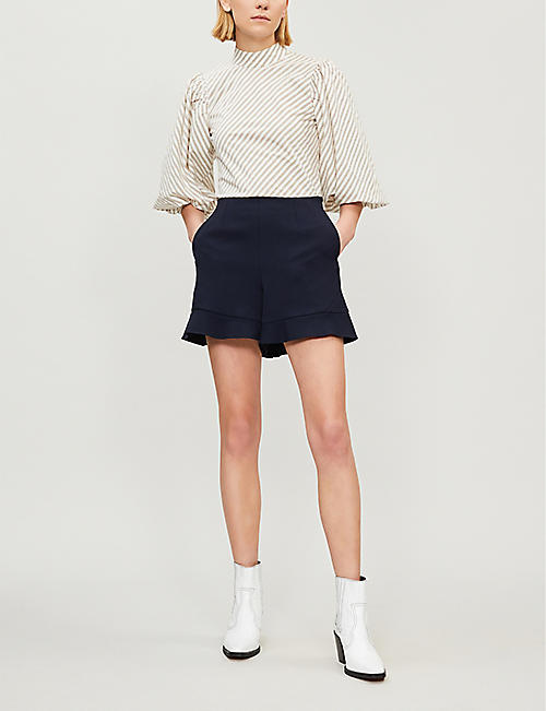 MAJE Frilled crepe shorts