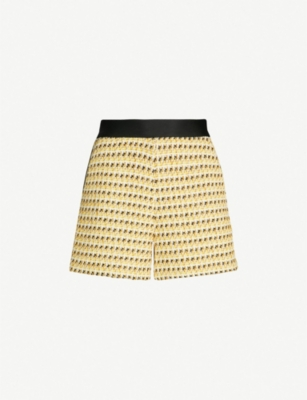 MAJE Isidore contrast-panel tweed shorts